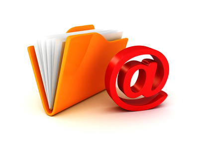 e-mail folder at symbol red icon